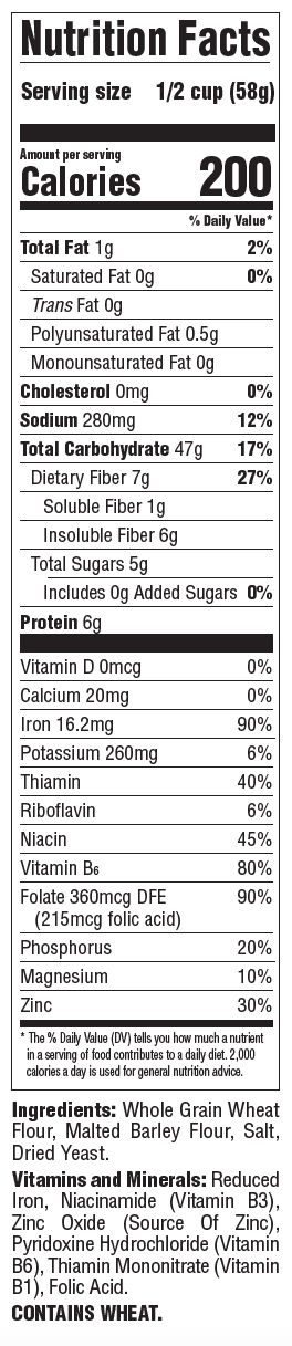 Grape-Nuts Original nutrition panel